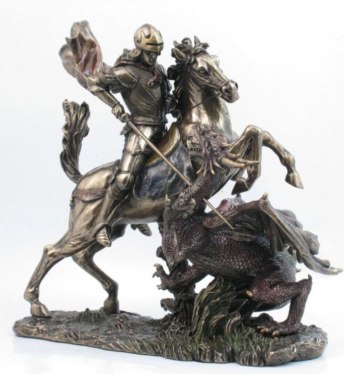 St George The Dragon Slayer On Base Statue